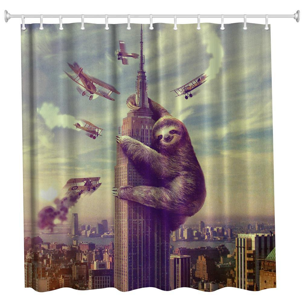 Shops Sloth Polyester Shower Curtain Bathroom  High Definition 3D Printing Water-Proof