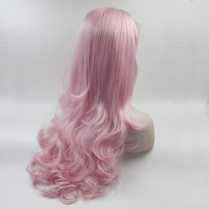 Pink Color Long Body Wavy Style Heat Resistant Synthetic Hair Lace Front Wigs for Women -
