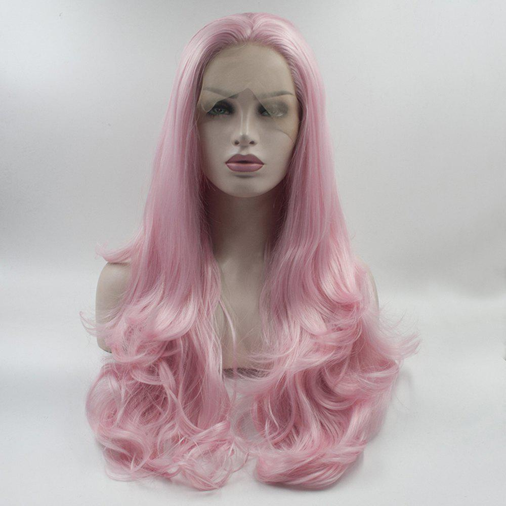 Shop Pink Color Long Body Wavy Style Heat Resistant Synthetic Hair Lace Front Wigs for Women