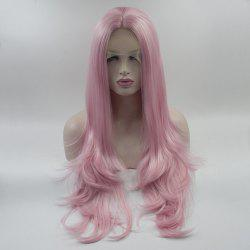 Pink Color Long Natural Body Wavy Style Heat Resistant Synthetic Hair Lace Front Wigs for Women -