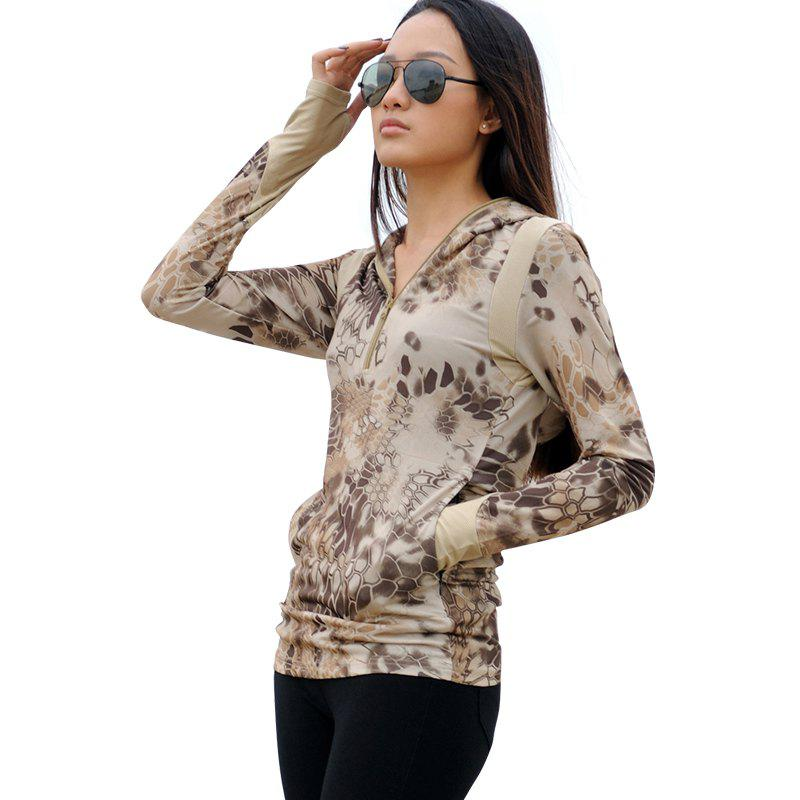 Fashion Python Pattern Camouflage Women Long-Sleeved Outdoor Sports Fast-Drying  Hoodie