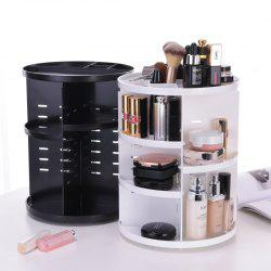 Plastic Makeup Cosmetic Organizer 360 Degree Rotation Lipstick Holder Adjustable Storage Box -
