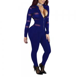 Jumpsuit sexy en maille Splicing Perspective Slim -