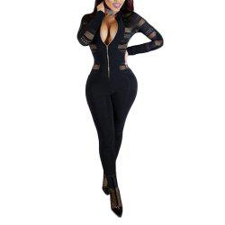 Sexy Mesh Splicing Perspective Slim Jumpsuit -