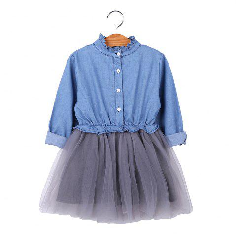kids Girl Denim Spring Autumn Long Sleeve Mesh Princess Dress Children Clothing - LIGHT BLUE - 90