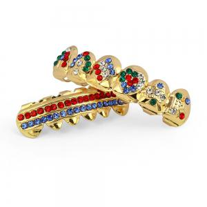 Hip Hop 18K Gold Plated Inlaid Colored D Teeth Grillz -