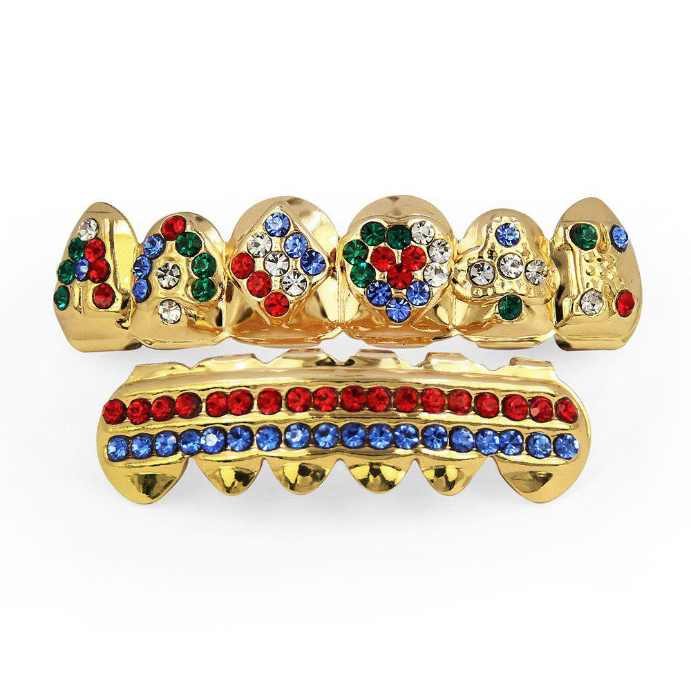 Best Hip Hop 18K Gold Plated Inlaid Colored D Teeth Grillz