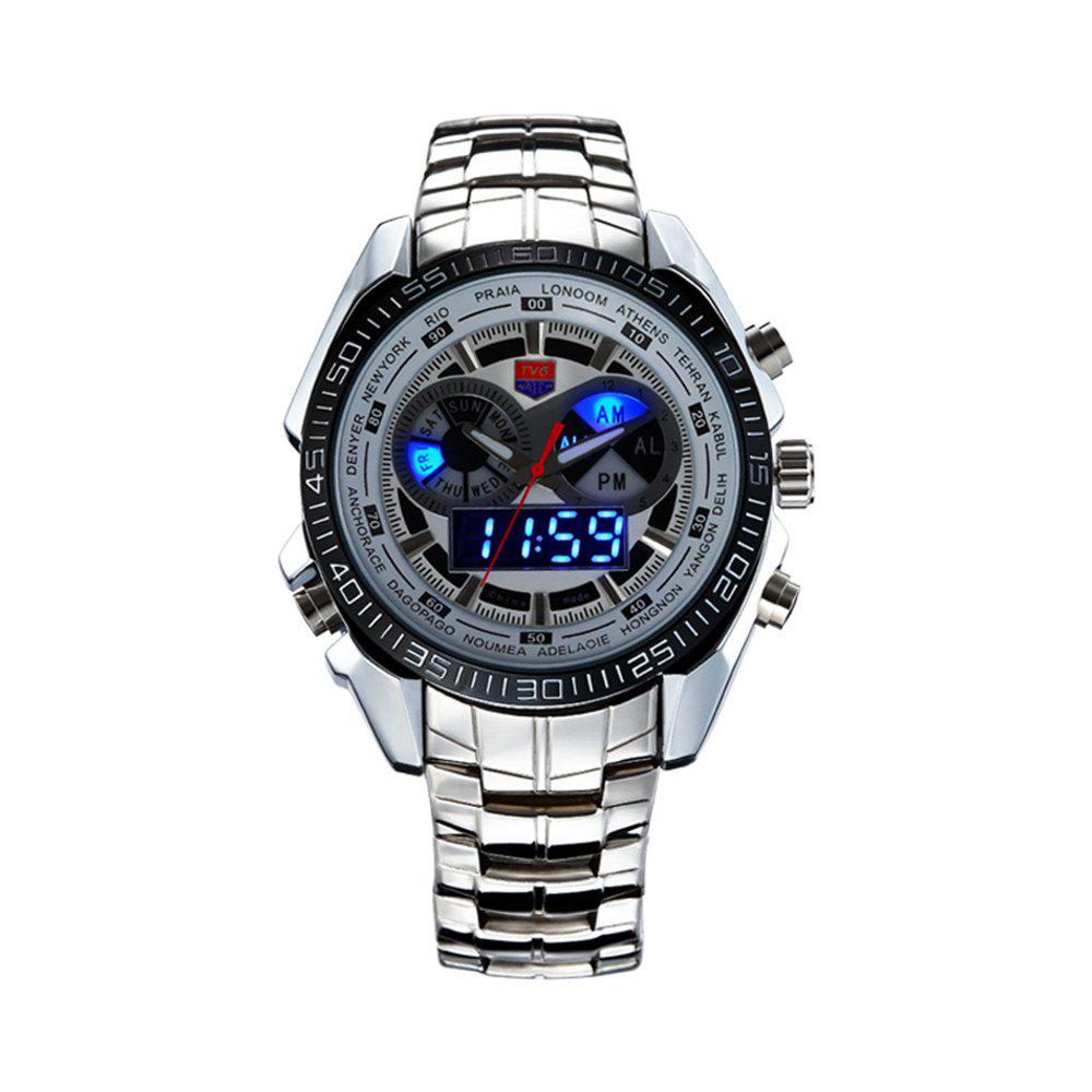 New TVG KM-468 3747 Fashionable Leisure Trend Outdoor Sports Night Light Display Steel with Cool Electronic Quartz Watch