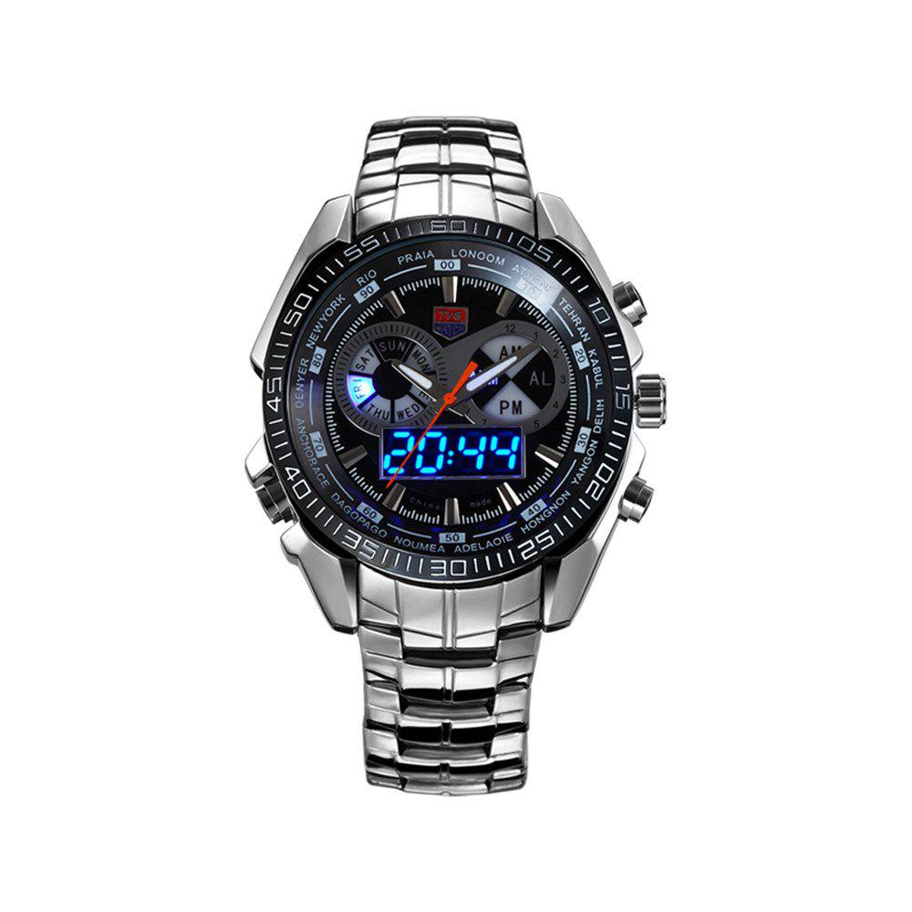 Cheap TVG KM-468 3747 Fashionable Leisure Trend Outdoor Sports Night Light Display Steel with Cool Electronic Quartz Watch