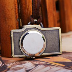 Retro Camera Shape Pocket Quartz Keyring Watch Keychain Pendant Gifts -