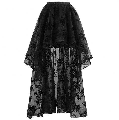 Discount Victorian Gothic Black Elastic High-low Organza Plus Size Skirt