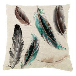 Feather Decoration Pillow Cover Cotton Linen Cushion -