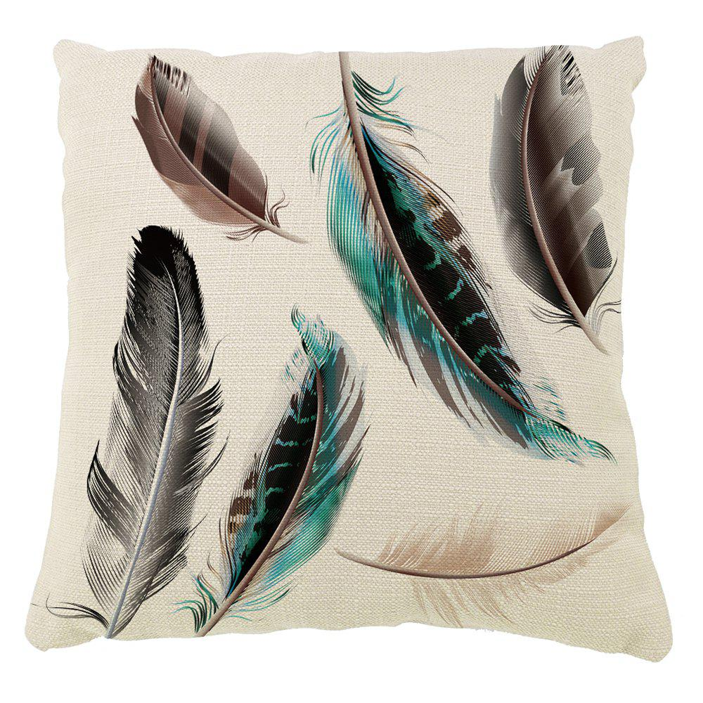 Outfit Feather Decoration Pillow Cover Cotton Linen Cushion