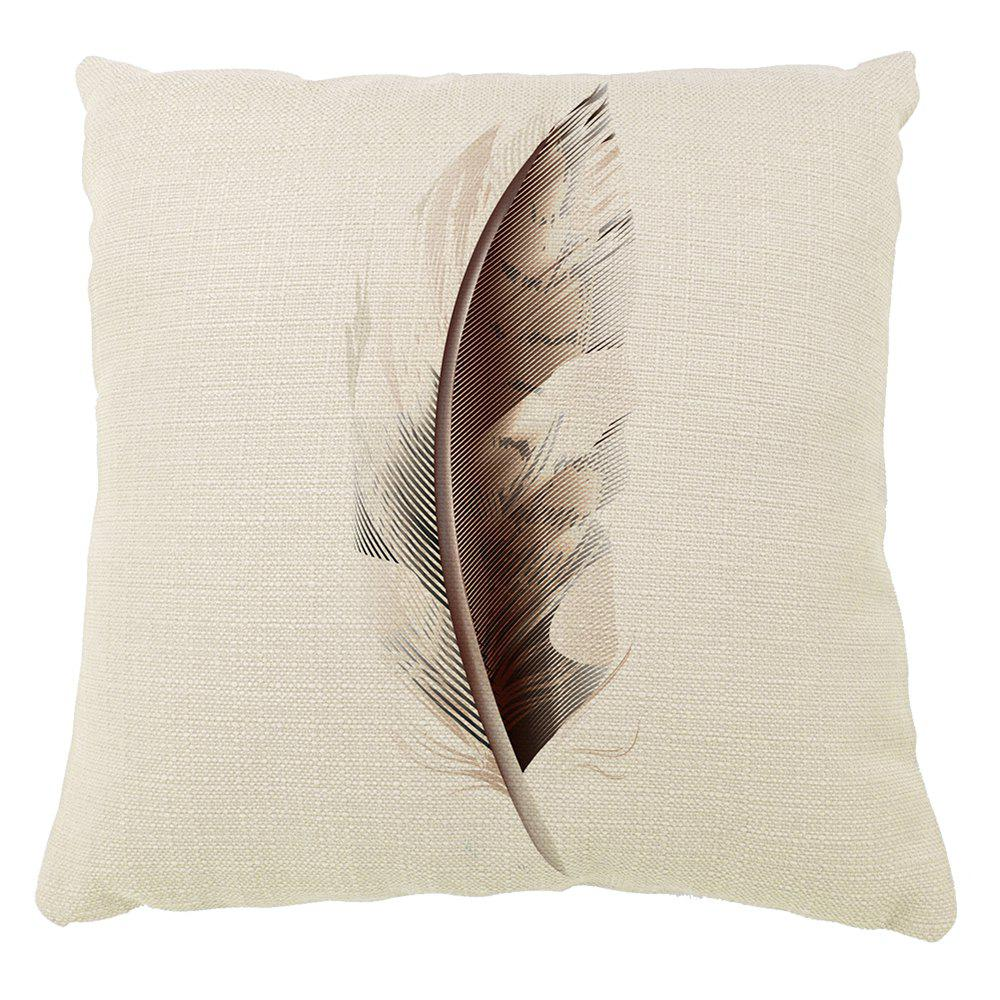 Shops Feathers Decoration Home Abstract Pattern Pillow Cover Cotton Linen