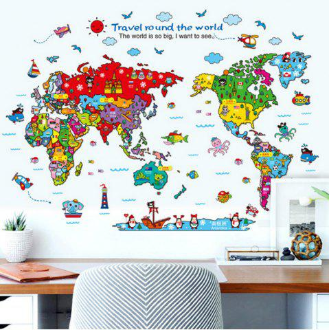 Colour cartoon animals world map home decal for kids room decoration shop cartoon animals world map home decal for kids room decoration stickers gumiabroncs Image collections