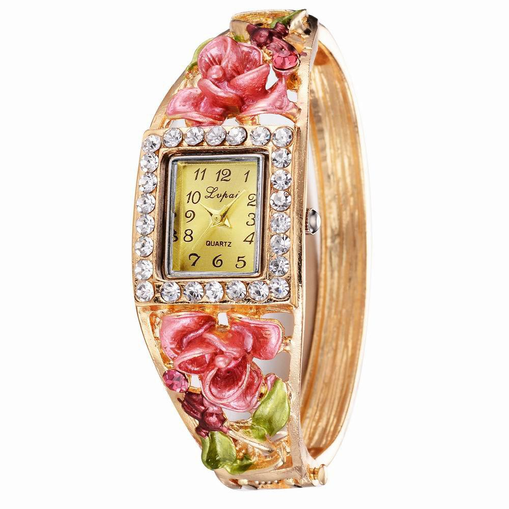 Shop Lvpai P053 Women Unique Flowers Bangle Quartz Watches