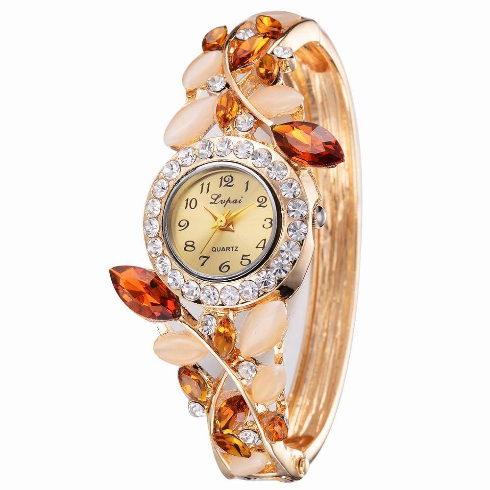 Latest Lvpai P041 Women Unique Crystals Bangle Quartz Watches