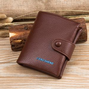 Boutons pour hommes Short Original Leather Wallet Soft Vertical Section -