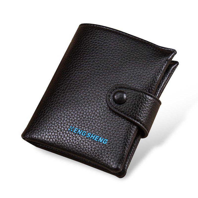Online Men's Buttons Short Original Leather Wallet Soft Vertical Section