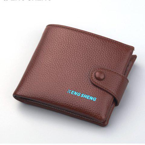 Fashion Men's Buttons Short Original Leather Wallet Soft Cross Section