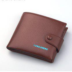 Men's Buttons Short Original Leather Wallet Soft Cross Section -