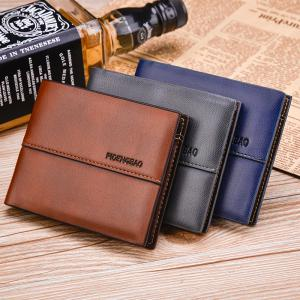 Men's Wallet Short Smooth Pattern Europe and The United States New Soft Multi-Card Cross-Section Ticket Holder -