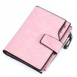 Women Short Wallet Button Multi-card Female Purse Frosted Zipper Bag -