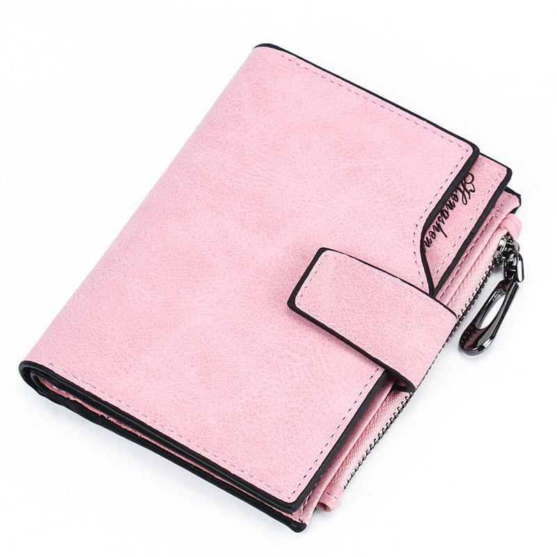 Hot Women Short Wallet Button Multi-card Female Purse Frosted Zipper Bag