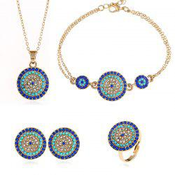 New Devil's Eye Necklace Earrings with Four-Piece Round Blue Jewelry Set -