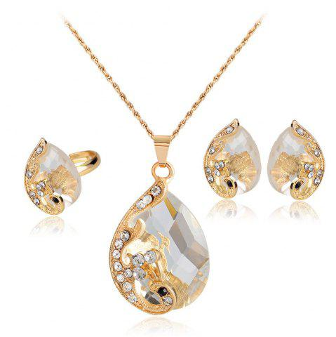 Discount Water Droplets Gem Hollow Three-Piece Necklace Earrings Rings