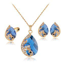 Water Droplets Gem Hollow Three-Piece Necklace Earrings Rings -