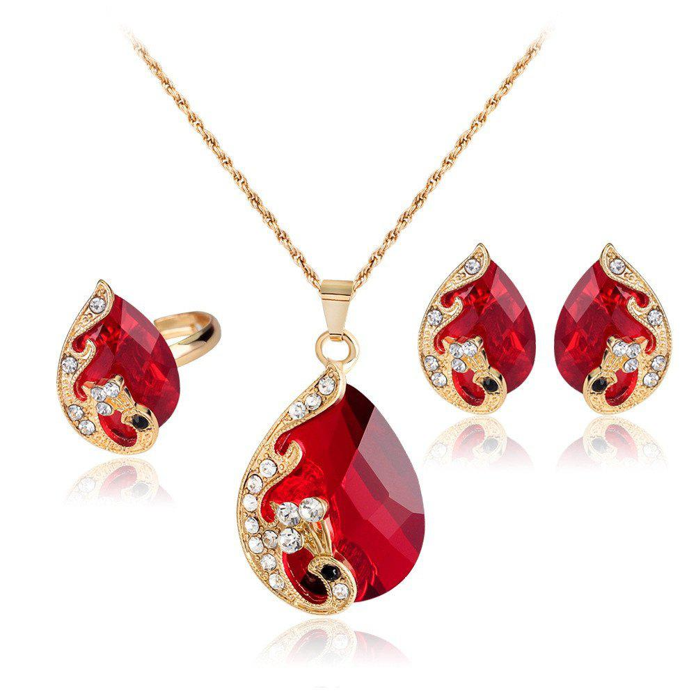 Outfits Water Droplets Gem Hollow Three-Piece Necklace Earrings Rings