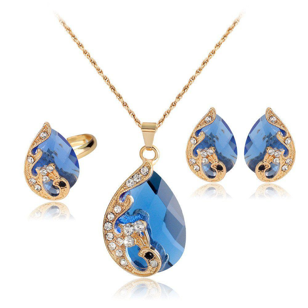 New Water Droplets Gem Hollow Three-Piece Necklace Earrings Rings