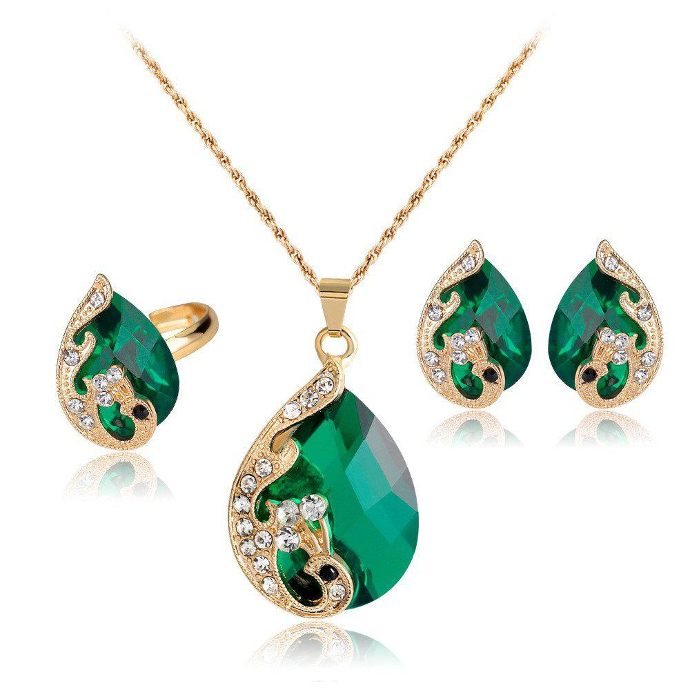 Shops Water Droplets Gem Hollow Three-Piece Necklace Earrings Rings