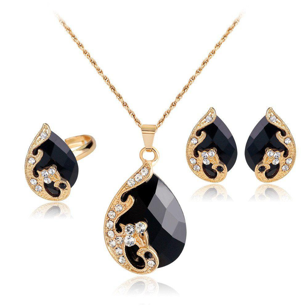 Fashion Water Droplets Gem Hollow Three-Piece Necklace Earrings Rings