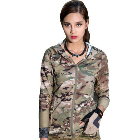 Outfits Stretch Camouflage Breathable Quick-Drying Ladies Hooded Outdoor Sports and Leisure Long-Sleeved Coat