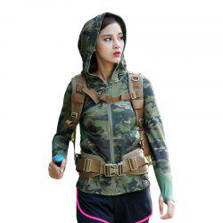 Stretch Camouflage Breathable Quick-Drying Ladies Hooded Outdoor Sports and Leisure Long-Sleeved Coat -