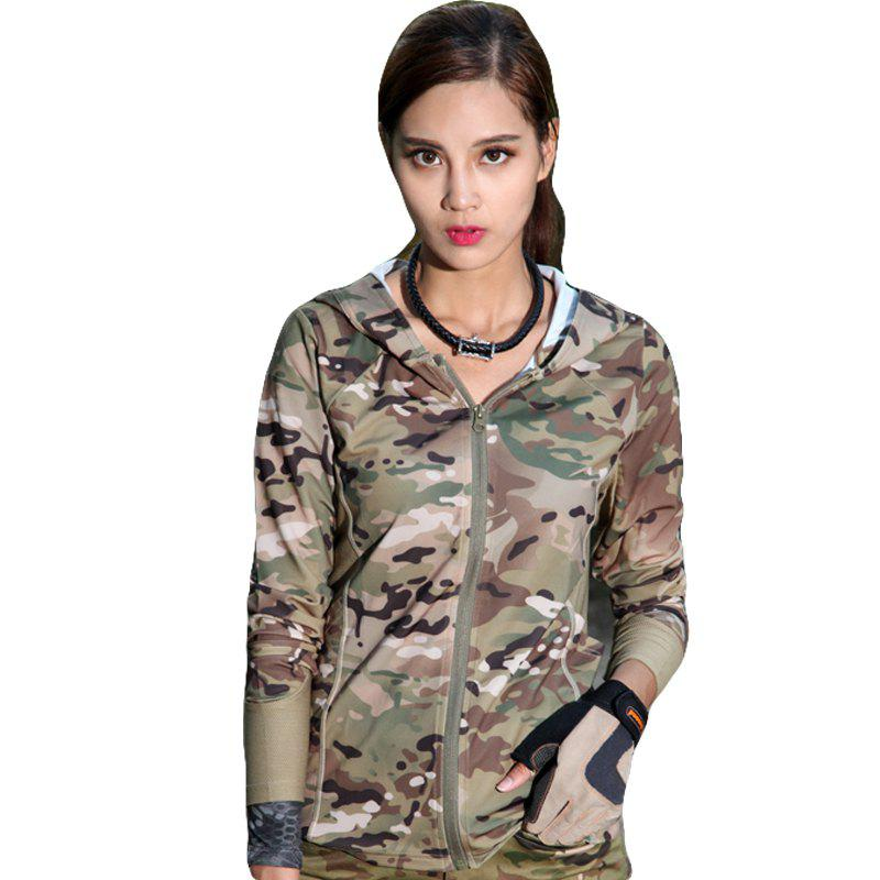 New Stretch Camouflage Breathable Quick-Drying Ladies Hooded Outdoor Sports and Leisure Long-Sleeved Coat