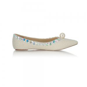 2018 Printemps New Flat Bottomed perle blanche unique chaussures -