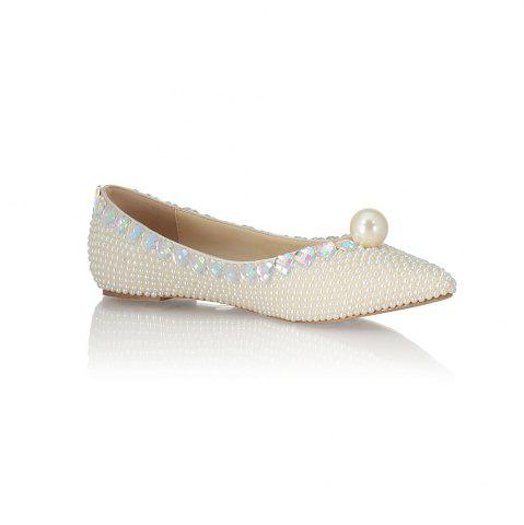 2018 Printemps New Flat Bottomed perle blanche unique chaussures