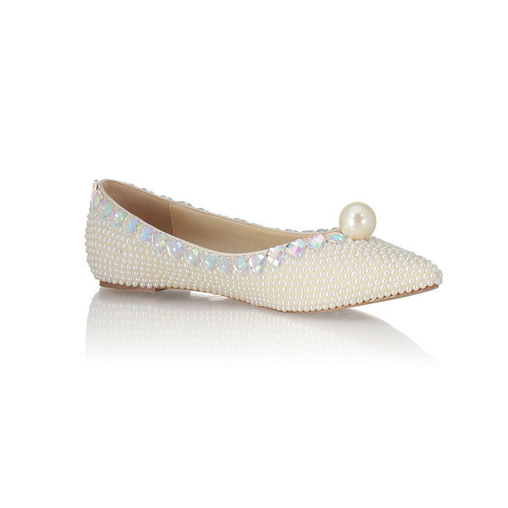 Cheap 2018 Spring New Flat Bottomed White Pearl Single Shoes