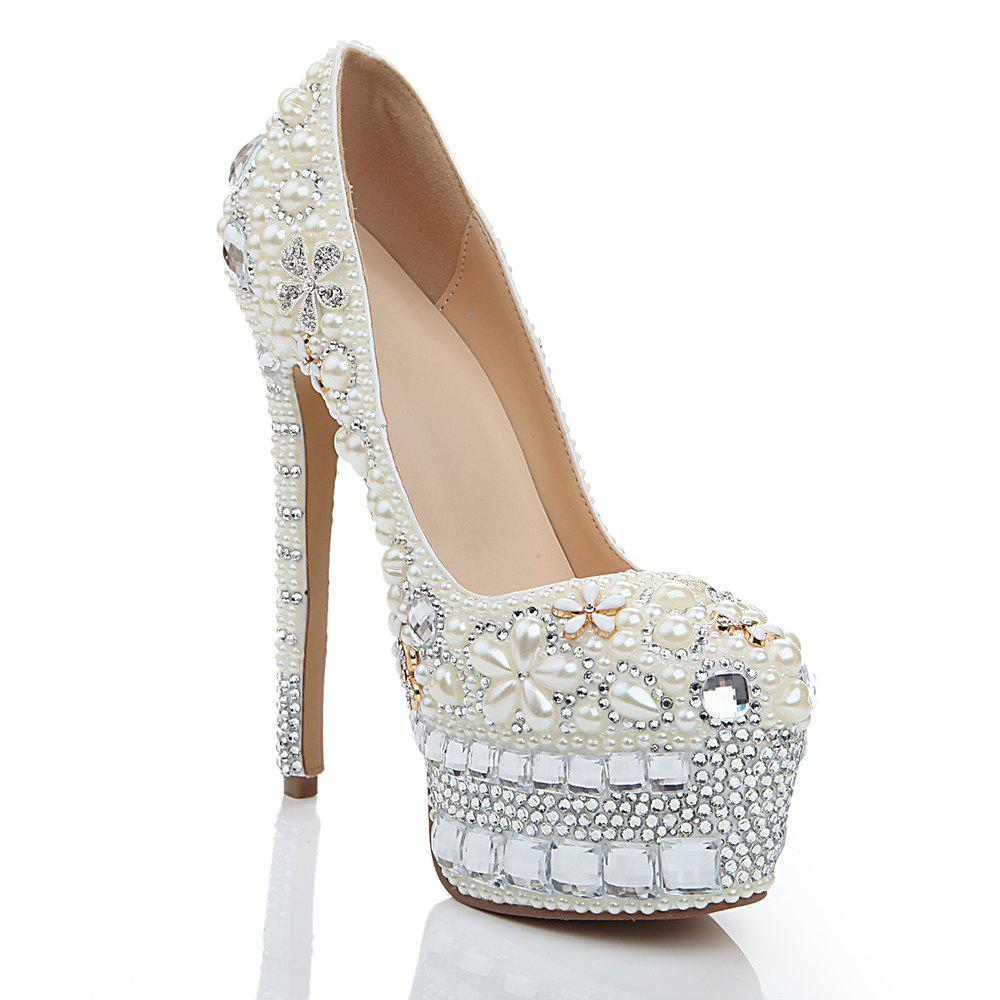 New 2018 New Pearl White Drill Round Head High Heels Banquet Shoes