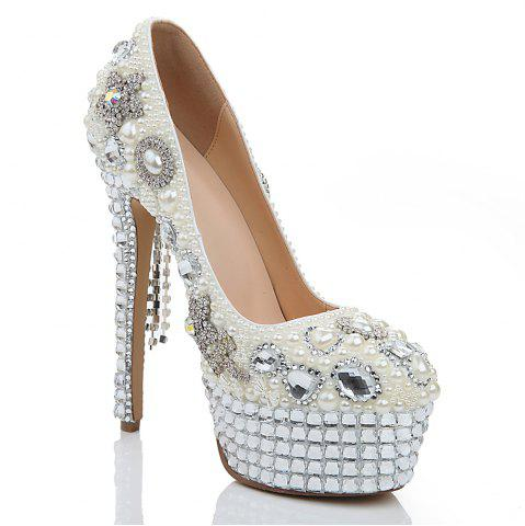 Fashion 2018 New Pearl White Butterfly Drill Head Heels