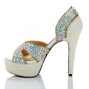 2018 New Fashion Pearl Color Drilled High Heel Sandals -