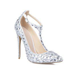 2018 New Silver White Drill T Type Chaussures à talons hauts -