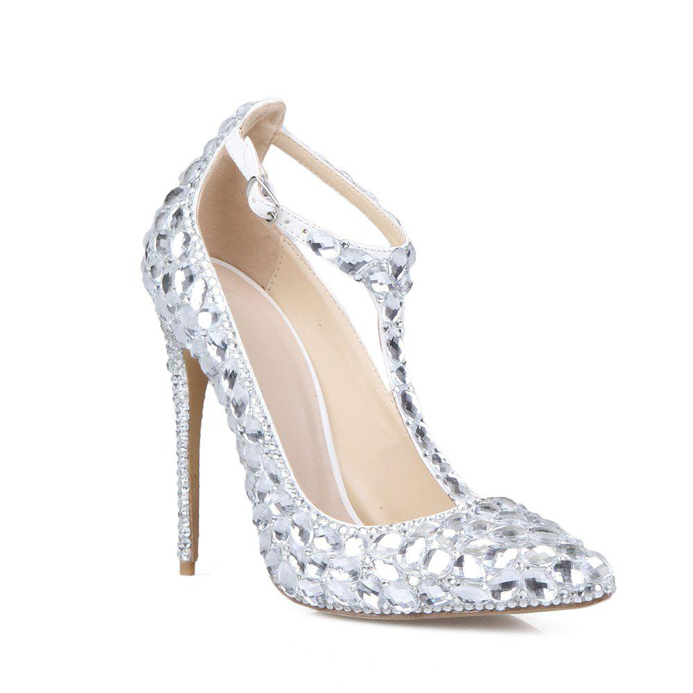 2018 New Silver White Drill T Type Chaussures à talons hauts