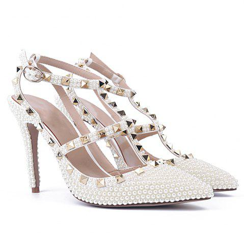 Best 2018 New White Pearl Rivets T Type Sandals