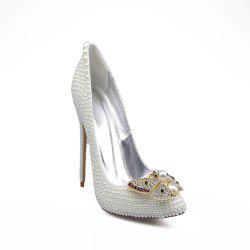2018 New Pearl Butterflies High Heel Shoes Wedding Banquet Shoes -