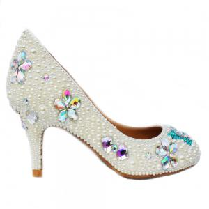 2018 Foreign Trade Sweet Pearl Low Heel Round Head Banquet Shoes Single Shoes -