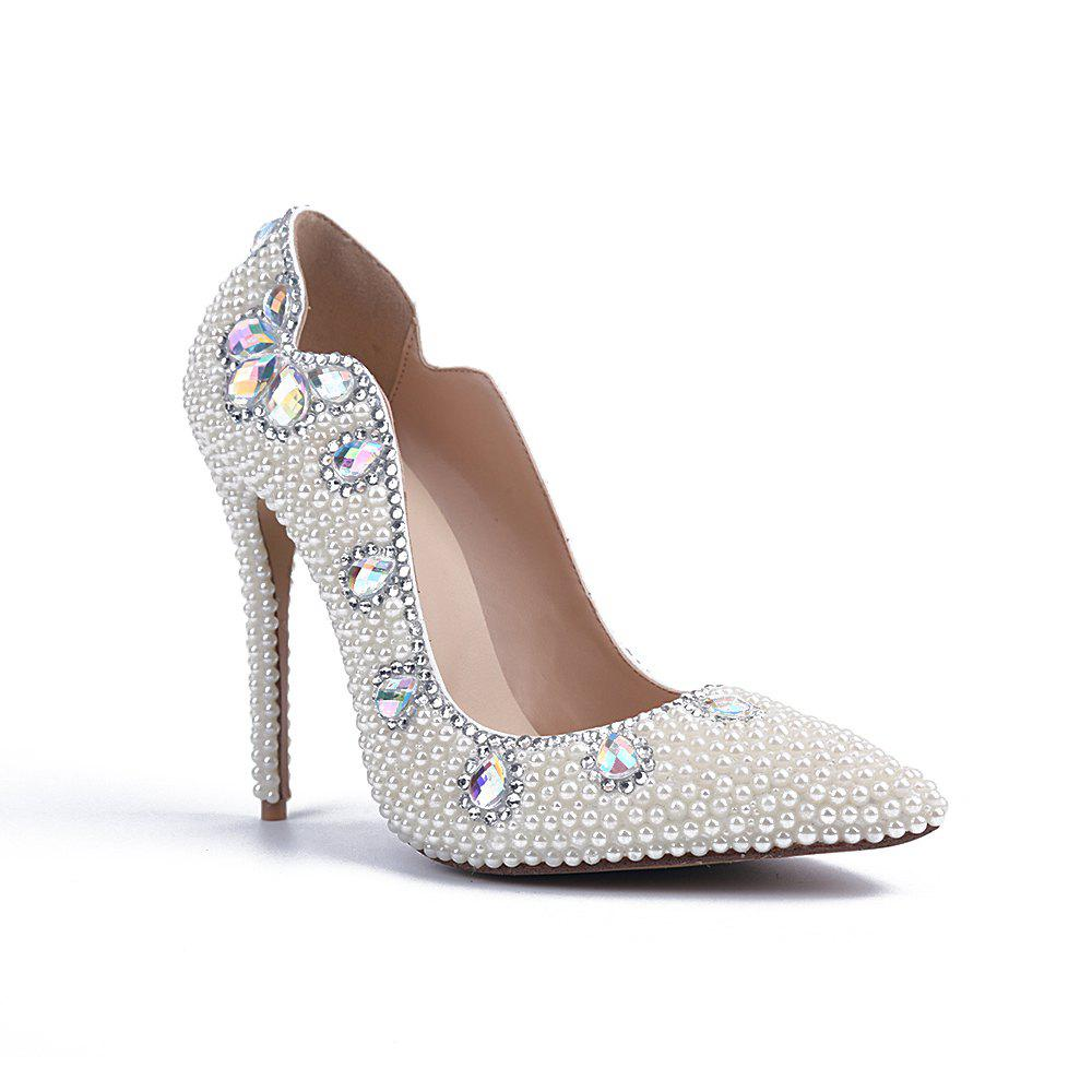 Chic 2018 New Pearl V Mouth Sharp Heel Shoes